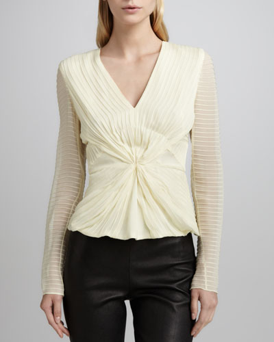 Zac Posen V Neck Chiffon Blouse with Pintucking
