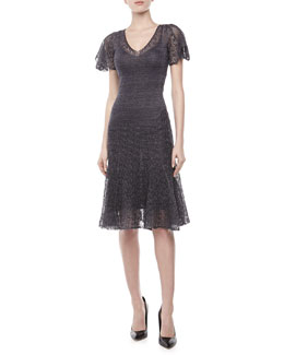 Zac Posen Pointelle Knit Flutter Dress