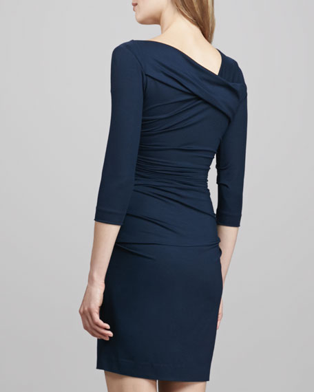 Bentley Short Ruched Dress, Blackened Blue