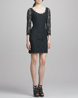 Diane von Furstenberg Zarita Scoop-Neck Short Lace Dress, Black