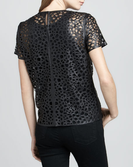 Sade Laser-Cut Leather Top