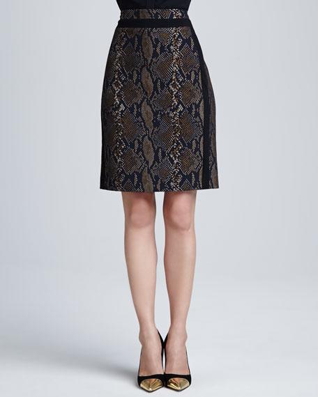 Marta Python-Print Pencil Skirt