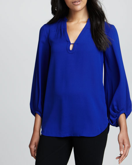 Tanyana Long-Sleeve Silk Blouse, Blue