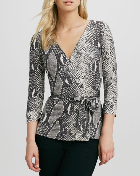 New Jill Python-Print Wrap Top