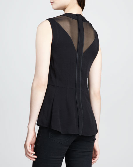 Sheer-Inset Flared Top