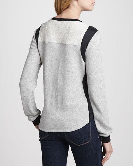 Colorblock Silk/Knit Sweatshirt