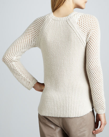 Perforated-Sleeve Knit Sweater
