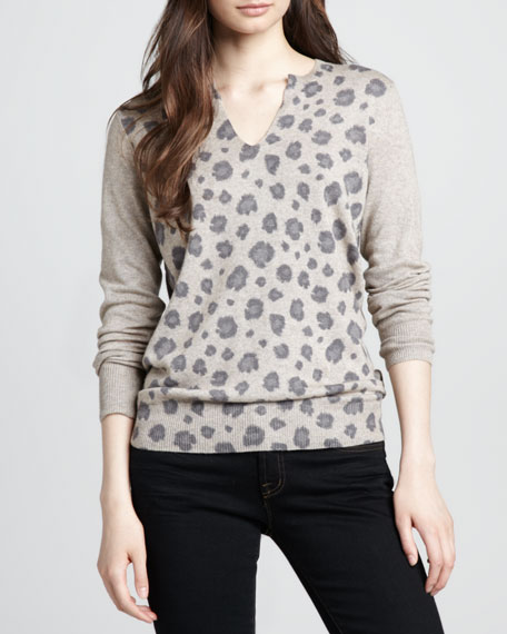Leopard-Print Knit Sweater