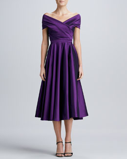 Talbot Runhof Off-the-Shoulder Wrap Dress