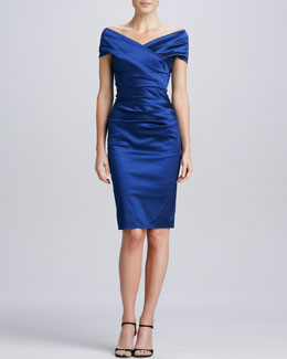Talbot Runhof V-Neck Ruched Cocktail Dress
