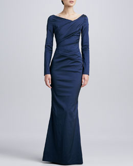 Talbot Runhof Long-Sleeve Ruched Gown