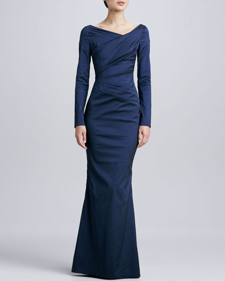 Long-Sleeve Ruched Gown