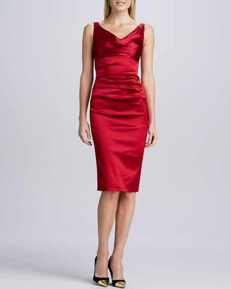 Sleeveless Ruched Cocktail Dress
