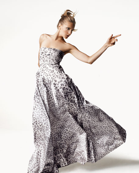 Malene Leopard Strapless Ball Gown