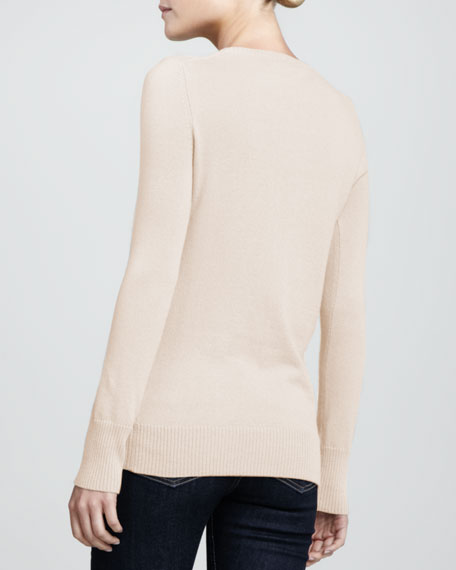 Fox Intarsia Cashmere Sweater, Creme Brulee