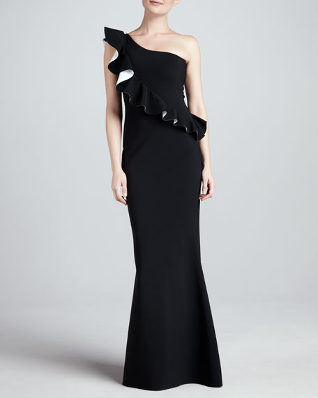One-Shoulder Ruffle Mermaid Gown