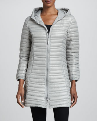 Variegated Quilted Jacket with Hood
