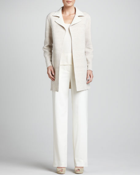 Crepe Wide-Leg Trousers, Ivory