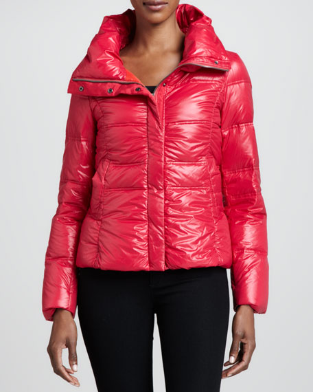 Contrast-Lined Bomber Puffer Coat