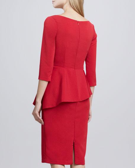 Asymmetric-Peplum Crepe Dress