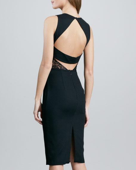Nha Khanh Crepe Dress with Lace Waist