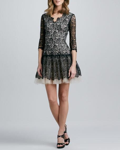3/4-Sleeve Lace Dress