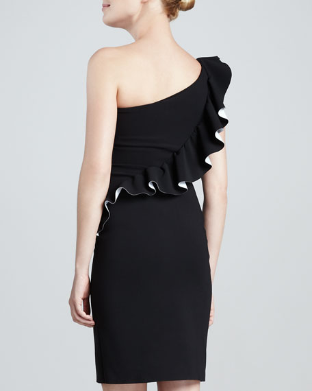 Marine One-Shoulder Ruffled Cocktail Dress