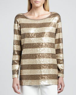Joan Vass Long-Sleeve Striped Sequined Tunic, Petite