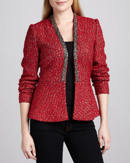 Neiman Marcus Boucle Beaded-Trim Peplum Jacket