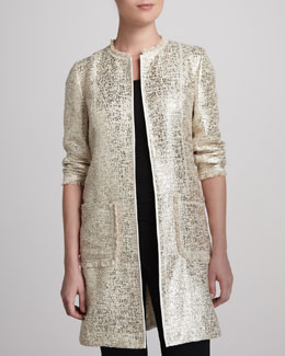 Neiman Marcus Long Topper Jacket, Ecru/Gold