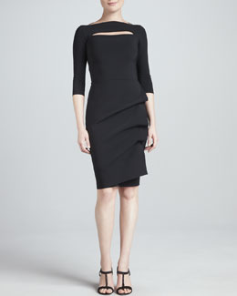 La Petite Robe by Chiara Boni Kate 3/4-Sleeve Boat-Neck Cocktail Dress with Keyhole