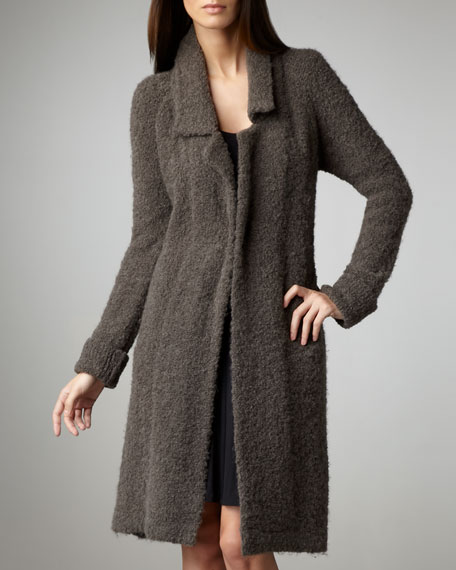 Notched-Collar Boucle Coat
