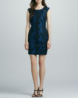 Phoebe by Kay Unger Snake-Print Sheath Dress