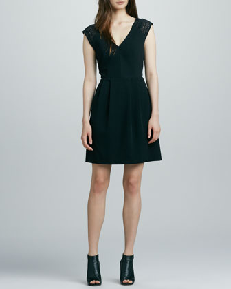Lace-Cap-Sleeve Cocktail Dress