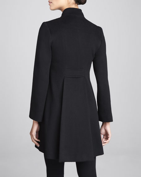 Hidden-Placket Back-Pleat Wool Coat