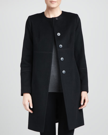 Collarless Pickstitched Wool Empire Coat