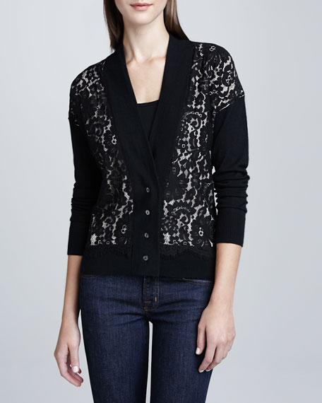 Boyfriend Lace-Panel Cardigan