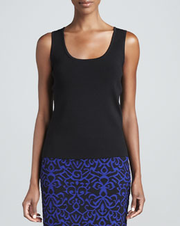 Carmen by Carmen Marc Valvo Scoop-Neck Jersey Tank