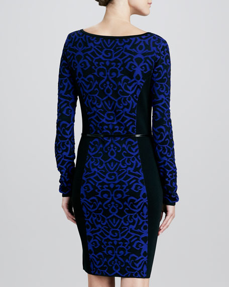 Long-Sleeve Colorblock Jacquard Dress