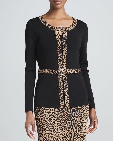 Belted Cheetah-Trim Cardigan