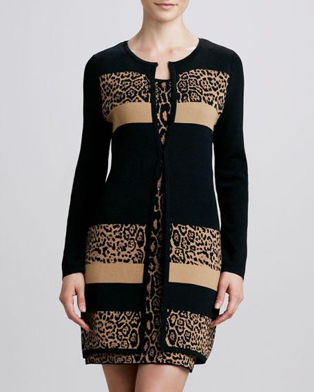 Cheetah-Print Colorblock Knit Coat