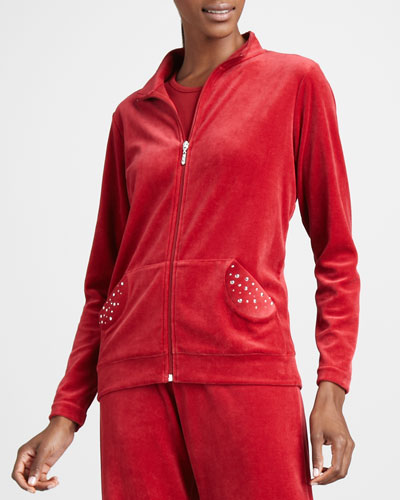 Joan Vass Velour Track Jacket, Petite