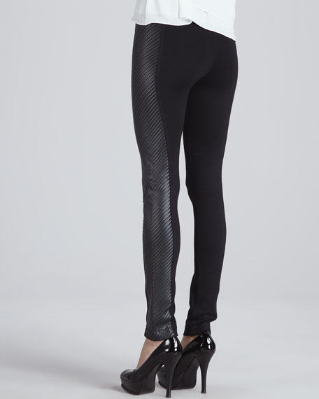 Ponte/Faux-Leather Leggings