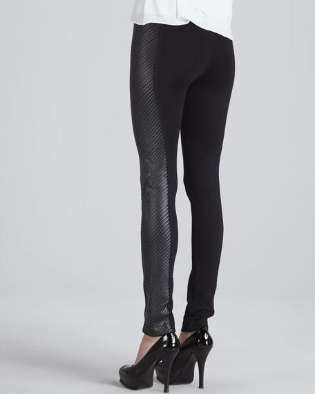 Ponte/Faux-Leather Leggings