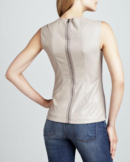 Faux-Leather Sleeveless Top