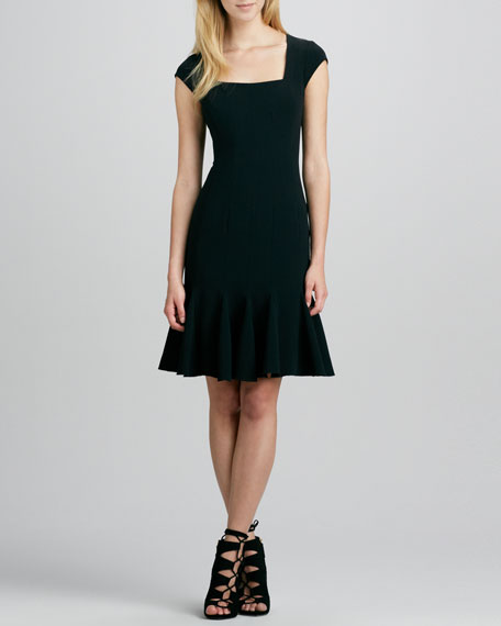 Cap-Sleeve Flare-Hem Dress