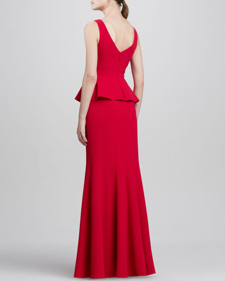 Sleeveless Peplum Gown, Rio Red