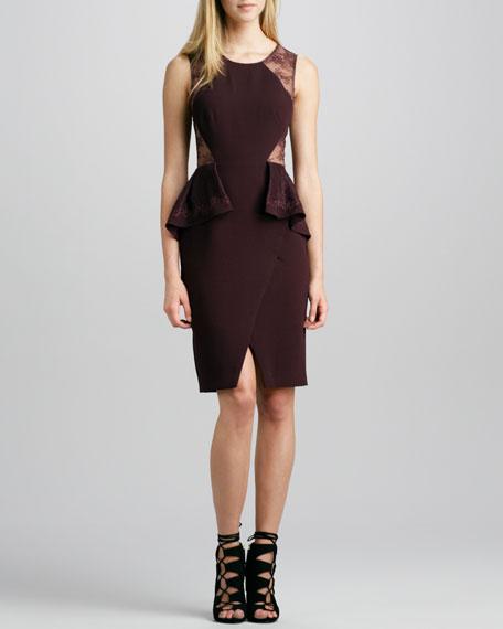 Lace-Inset Peplum Dress