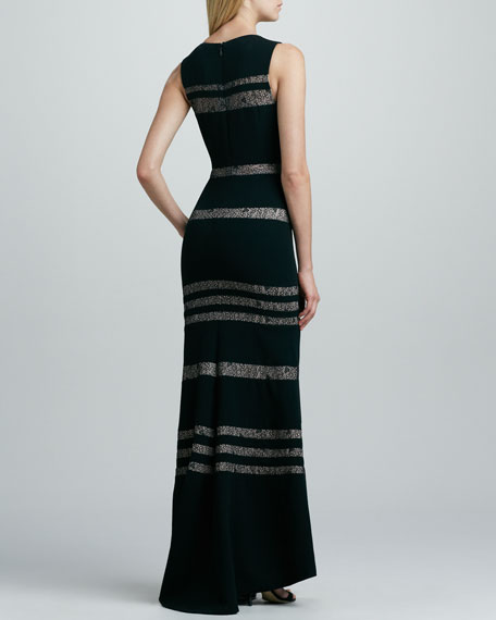 Fitted Lace-Stripe Gown