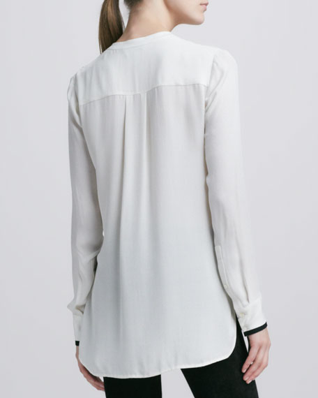 Tipped Contrast Blouse, Ivory/Black